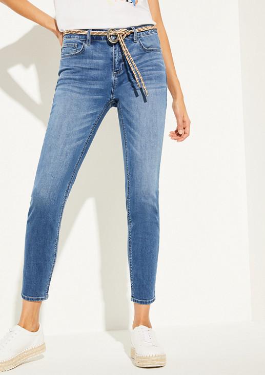 Skinny Fit: Jeans mit Kordel-Gürtel