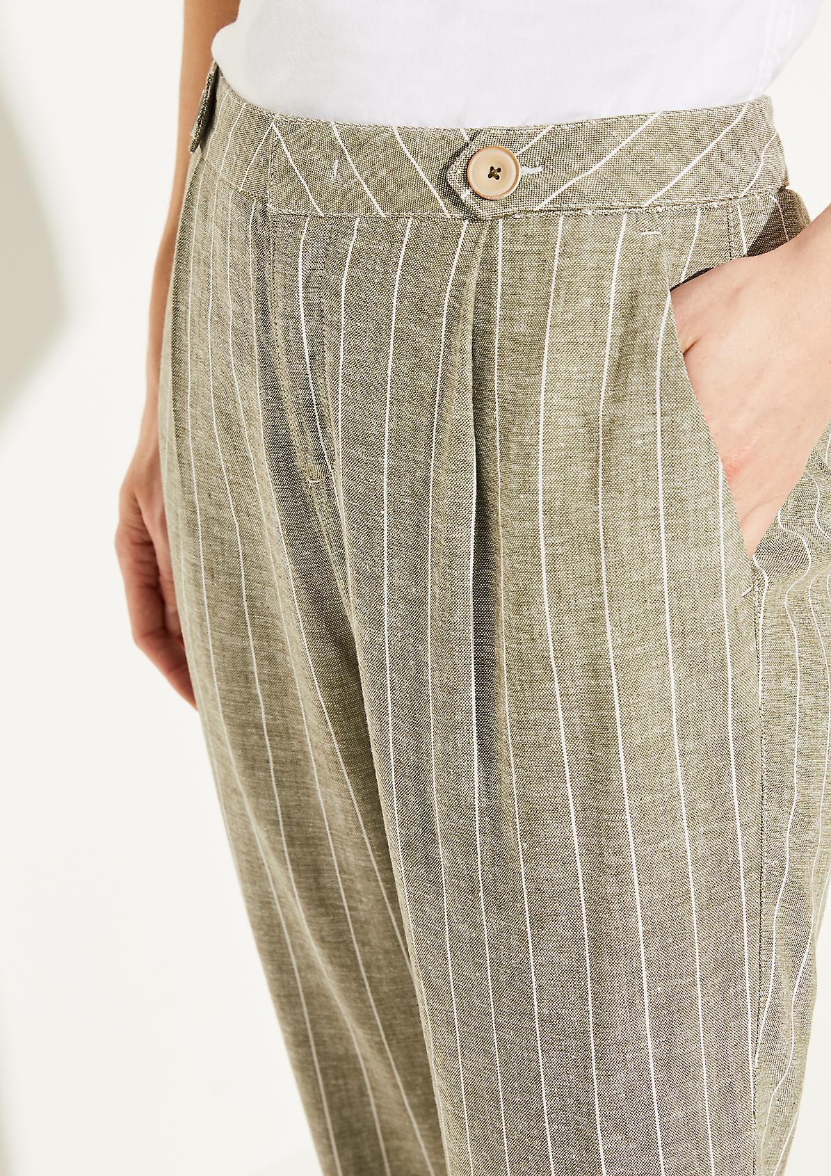 Loose Fit: Hose aus Leinen-Blend