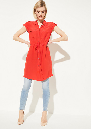 Long crêpe blouse with drawstring ties from comma
