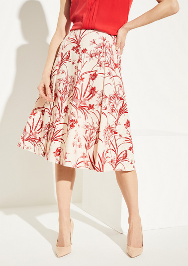 Midi skirt with a tropical pattern from comma