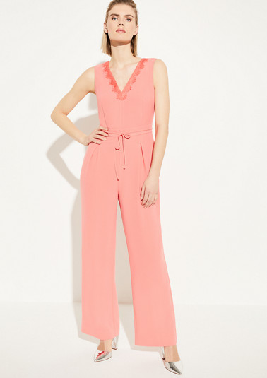 Crêpe jumpsuit with a lace trim from comma