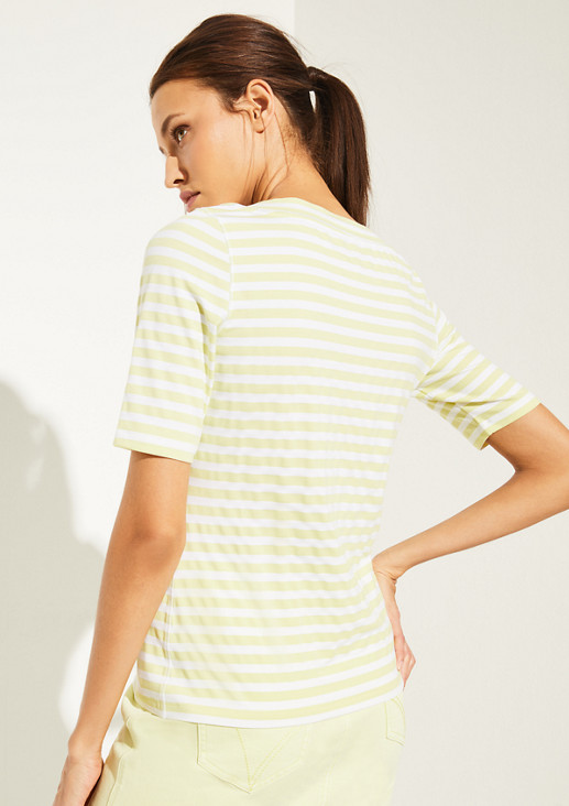 Striped jersey top with a V-neckline from comma