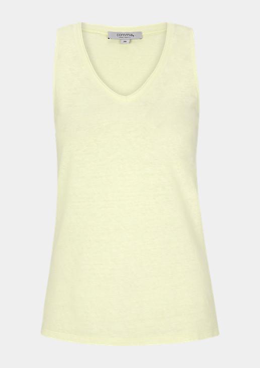 Basic-Top aus Baumwoll-Leinenblend