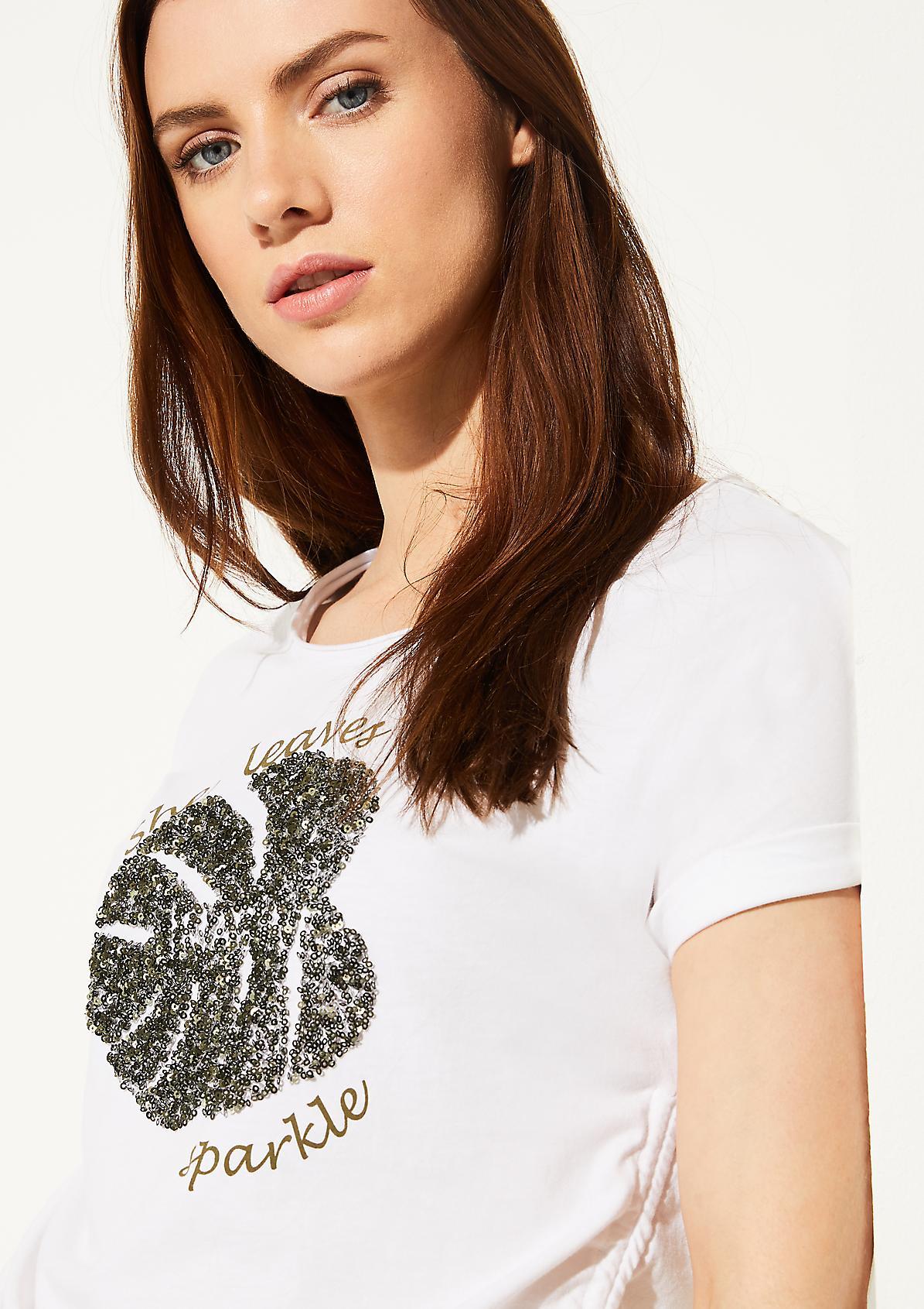 Pailletten-Shirt mit Raffung