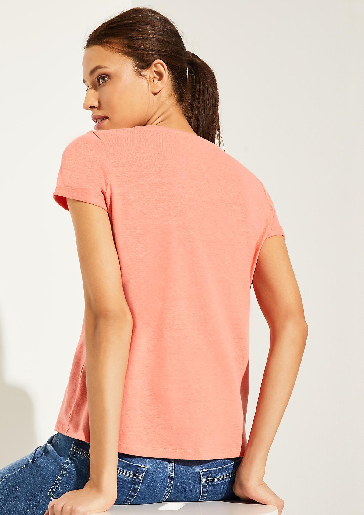 T-Shirt aus Baumwoll-Leinenblend