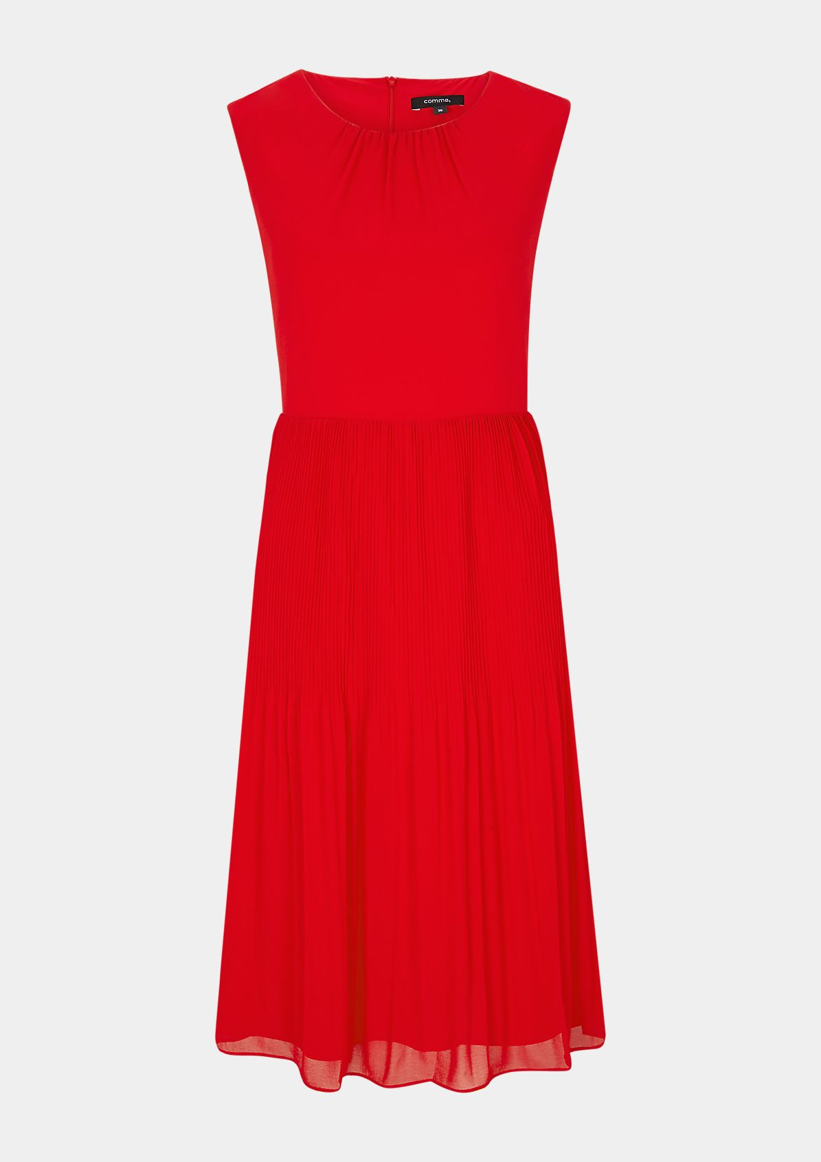 Dress with a pleated skirt section from comma