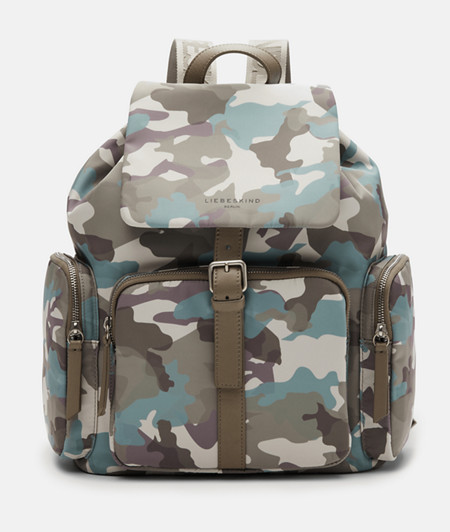 Rucksack with a camouflage print made of recycled nylon from liebeskind
