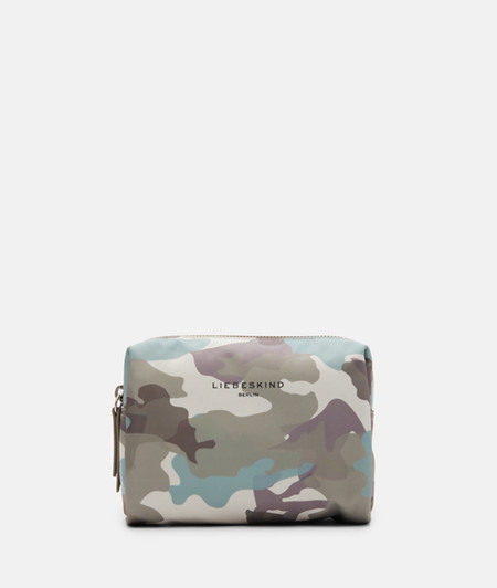 Cosmetics case made of recycled nylon with a camouflage print from liebeskind