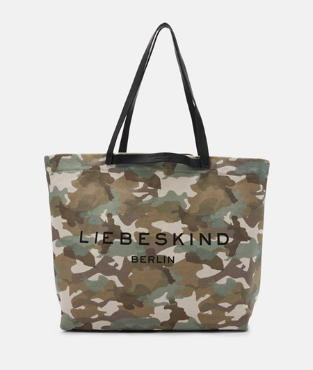 großer Shopper in Camouflage-Optik aus Canvas