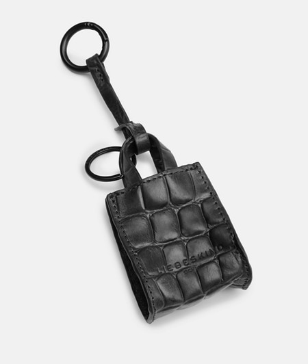 Paper bag-shaped key ring with crocodile embossing from liebeskind