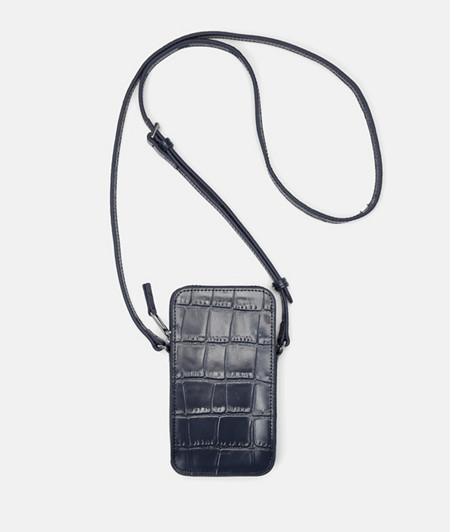 Sling bag with crocodile embossing and a glossy finish from liebeskind