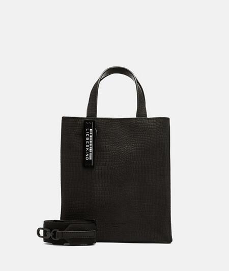 Minimalist handbag with an embossed lizard skin pattern from liebeskind