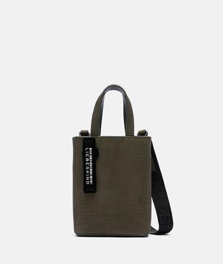 kleine Handtasche aus Leder mit Reptilprägung