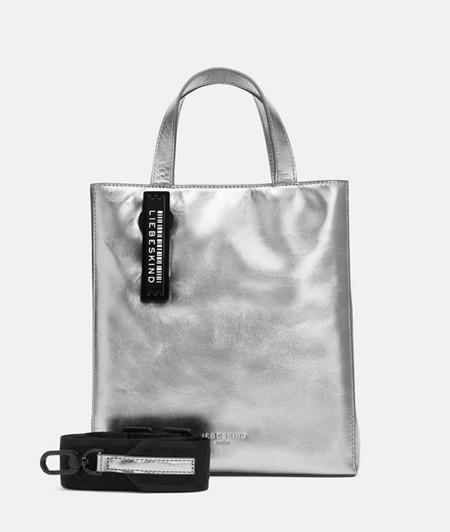Handtasche aus Leder in Metallic