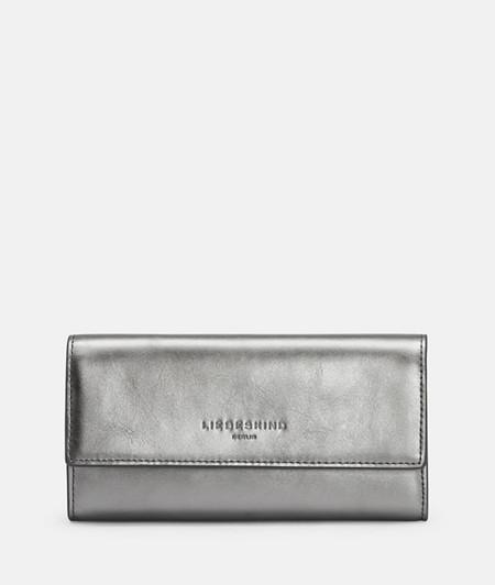 große Brieftasche aus Leder in Metallic