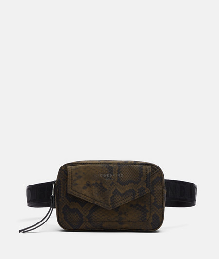 Belt bag made of recycled nylon with a snakeskin print from liebeskind