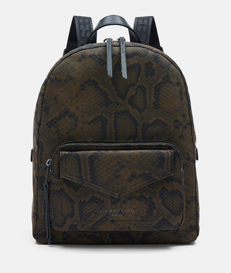 Rucksack made of recycled nylon with a snakeskin print from liebeskind