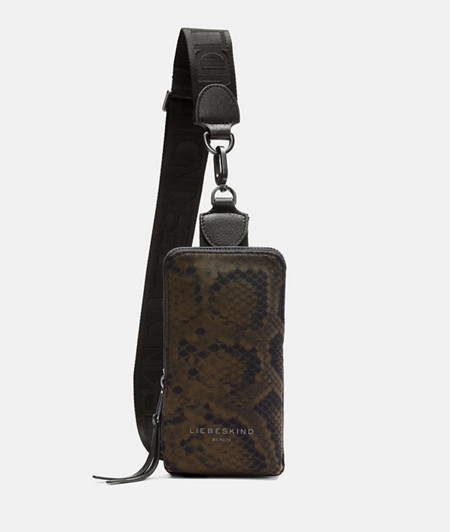 Sling bag made of recycled nylon with a snakeskin print from liebeskind