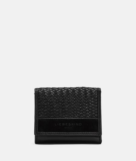 kleine Geldbörse mit geflochtenem Leder