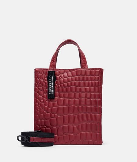 Handtasche aus Leder mit Krokodilprägung