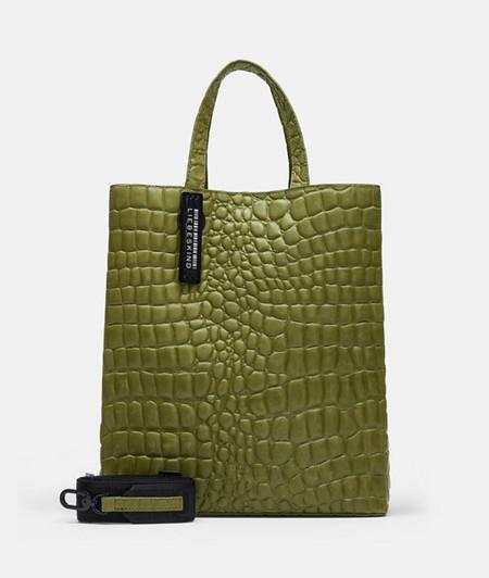 puristische Handtasche in Kroko-Optik
