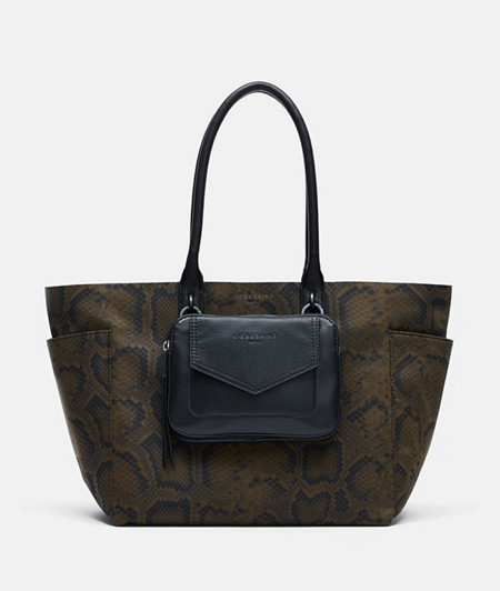 Shopper made of recycled nylon in a snakeskin print and with a detachable pouch from liebeskind
