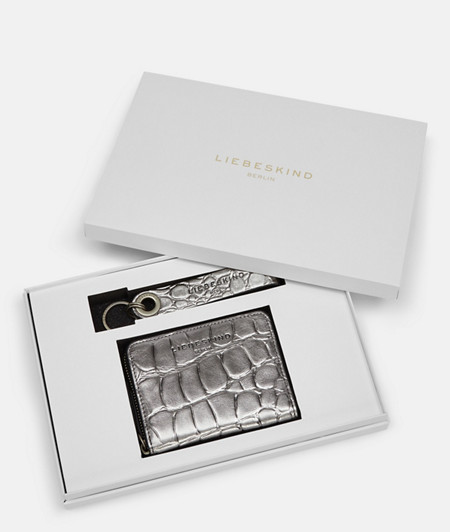 Gift set including a purse and key-ring made of leather with crocodile embossing from liebeskind