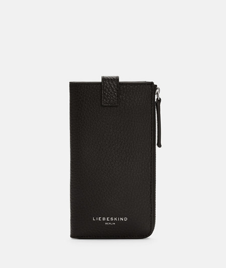 Wallet with a mobile phone pouch made of grained smooth leather from liebeskind