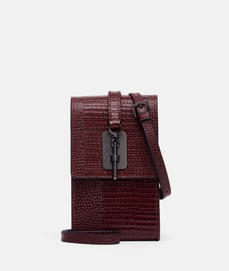 Shoulder bag with a snap clasp and embossed lizard skin pattern from liebeskind