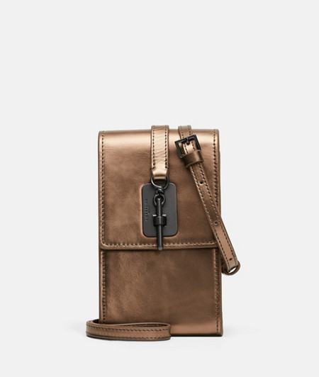 Shoulder bag with a snap clasp and metallic leather from liebeskind