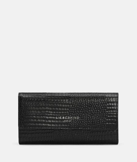 große Brieftasche aus Leder mit Eidechsenprägung