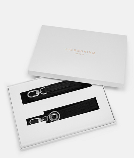 Gift set with a woven tape logo strap and a key-ring from liebeskind