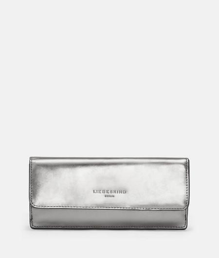 großes Portemonnaie aus Leder in Metallic
