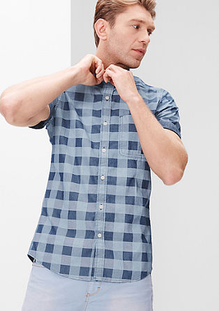 Slim: Check shirt with chambray piping from s.Oliver
