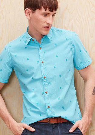 Slim: Hemd mit Palmen-Print