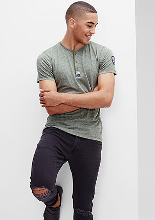 Mottled T-shirt with a button placket from s.Oliver