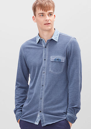 Slim: Piqué-Hemd in Garment Dye