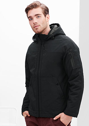 Water-repellent jacket with hood from s.Oliver
