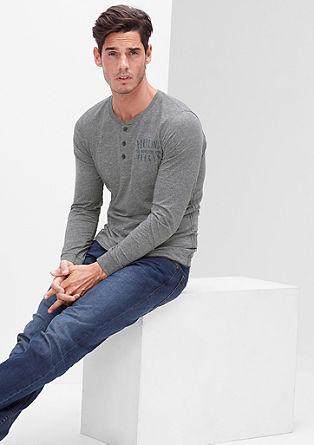 Henley-Shirt aus Melange-Jersey