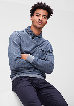 Sweatshirt with knitted collar from s.Oliver