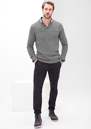 Knit jumper with a button placket from s.Oliver