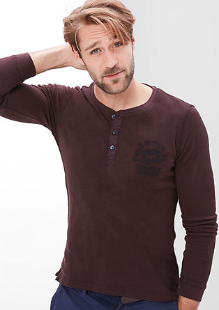Long sleeve cotton piqué top from s.Oliver