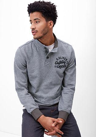 Melange-Sweater mit Knopfleiste