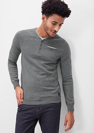 V-Pullover mit Knopfleiste