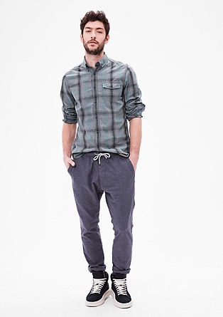 Slim: cotton shirt with fine checks from s.Oliver