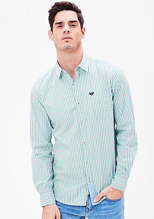 Slim: shirt with woven stripes from s.Oliver