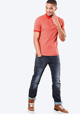 Melange polo shirt with a chest pocket from s.Oliver