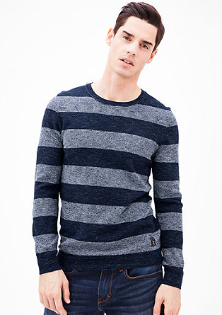 Knit jumper with block stripes from s.Oliver