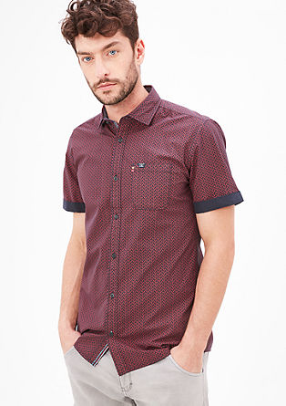Slim: Hemd mit Allover-Print