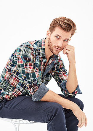 Regular: Checked patchwork shirt from s.Oliver